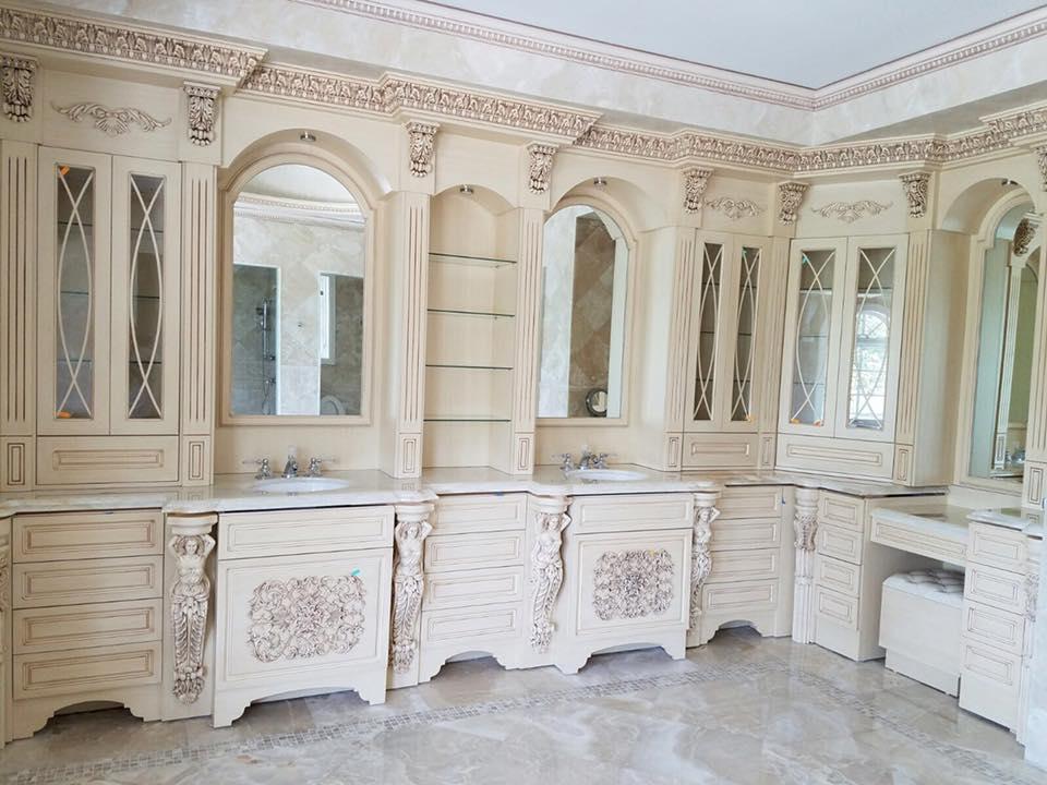 bathroom remodel with custom built vanity