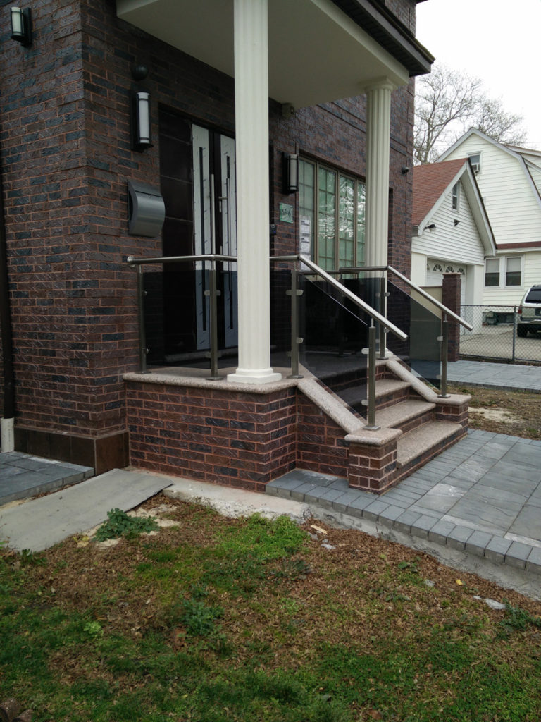 Exterior Front Entrance With Railings Installation
